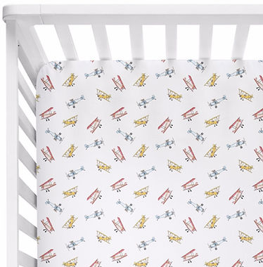 Airplane Crib Sheet - White Background_e