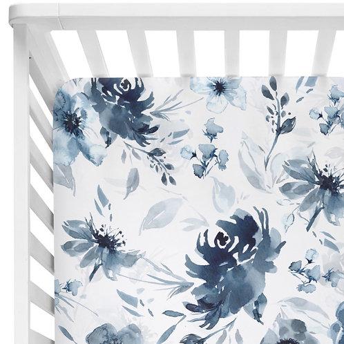 Moody Blue Floral - Crib Sheet