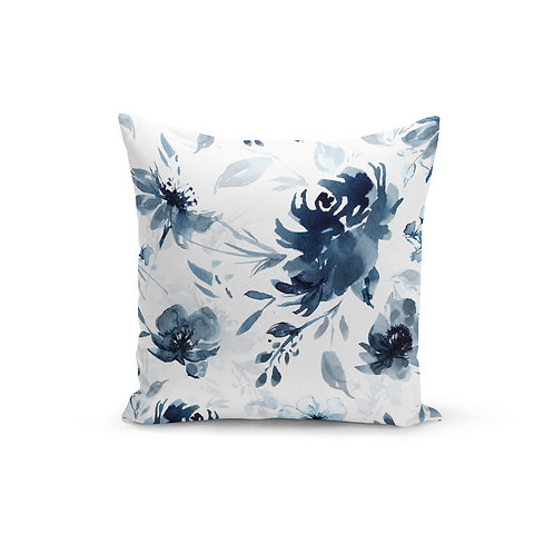 Moody Blue Floral - Throw Pillow Cover