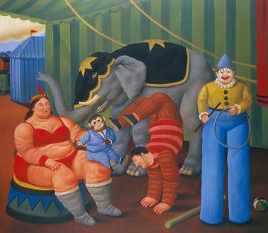 Gente del circo con elefante, 2007_oleo sobre lienzo