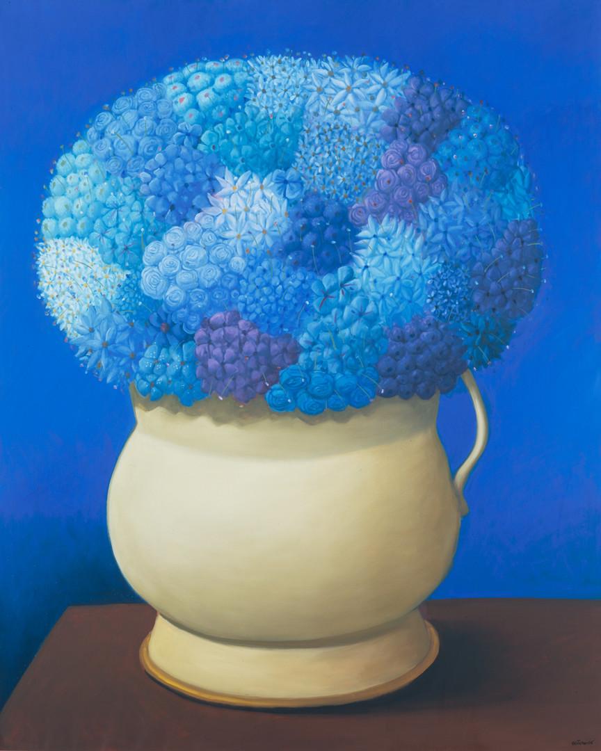 Flores en azul (Triptico 2006)_oleo sobre lienzo