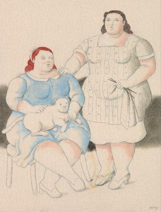 Dos hermanas, 2019_acuarela sobre lienzo