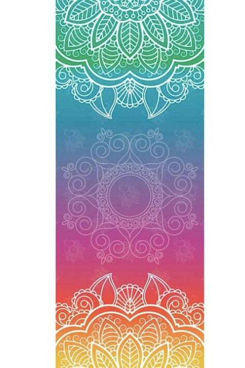 Meditation Mat / Yoga Mat Towel/Covering - Rainbow Mandala Design
