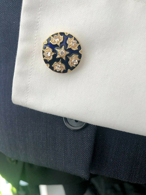 Handcrafted Gold Plated Cufflinks with Blue Enamel & Inlays