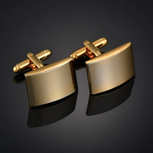 Gold-coloured Stainless Steel Cufflinks