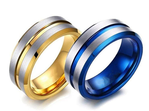 Stainless Steel Men's Ring - Size 10 - Blue & Silver Or Gold & Silver Coloured