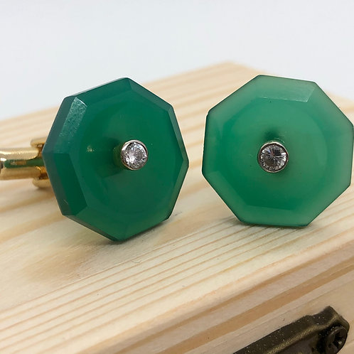 Handcrafted Green Onyx Gold Plated Cufflinks