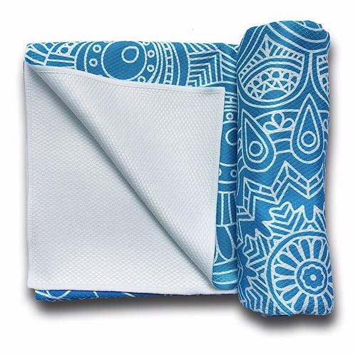 Meditation Mat / Yoga Mat Towel/Covering - Blue - Green Mandala