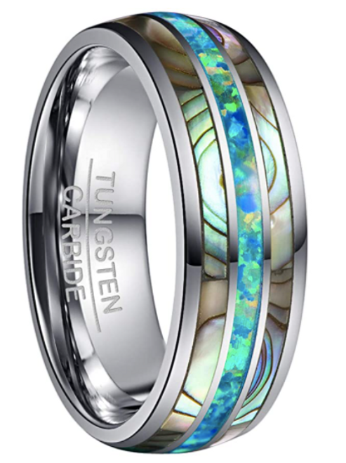 Men's Tungsten Carbide Ring - Abalone Shell And Opal - Size 10