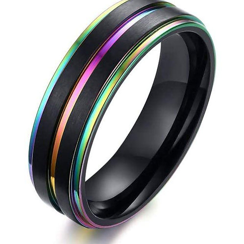 Rainbow Ring - Black Stainless Steel - Size 10