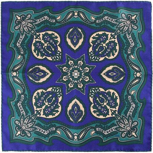 Emerald and Blue Magnolia Pocket Square