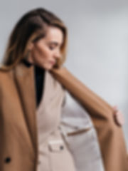 Ellie Morrison long camel overcoat custo