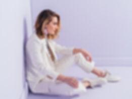 Eleanora Morrison white pinstripe custom