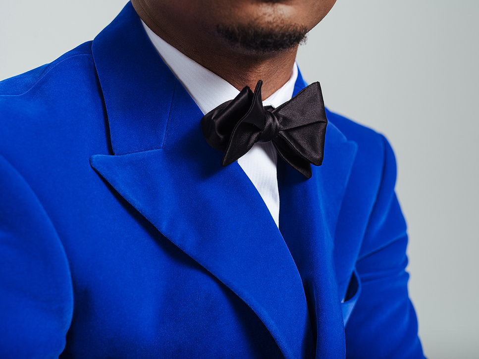 velvet electric blue bespoke dinner jack