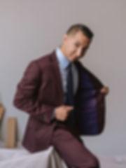 Derek X. Aguilar custom lining mens suit