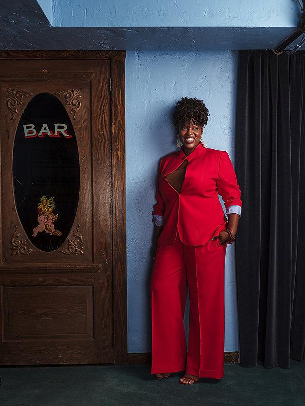 Women's Red Keyhole Jacket Blazer San An