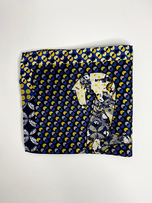 Blue and Yellow Cadini Horse Pocket Square