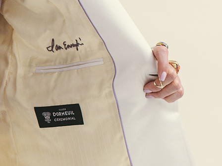 I am Enough Embroidery on Dormeuil Ceremonial White Tuxedo fabric.png