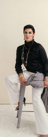 Silk Charmeuse Black Top + X Creative White Pants + X Studio Blazer $2,888