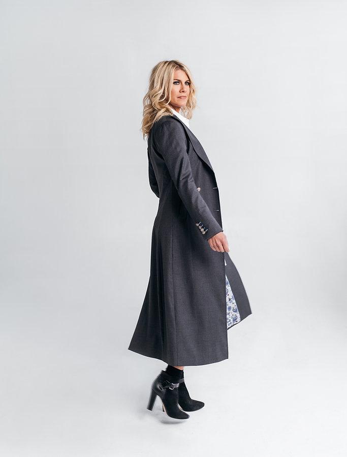 women's custom pinstripe overcoat street