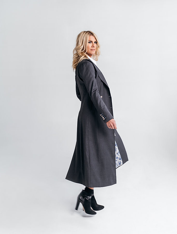 women's custom pinstripe overcoat street