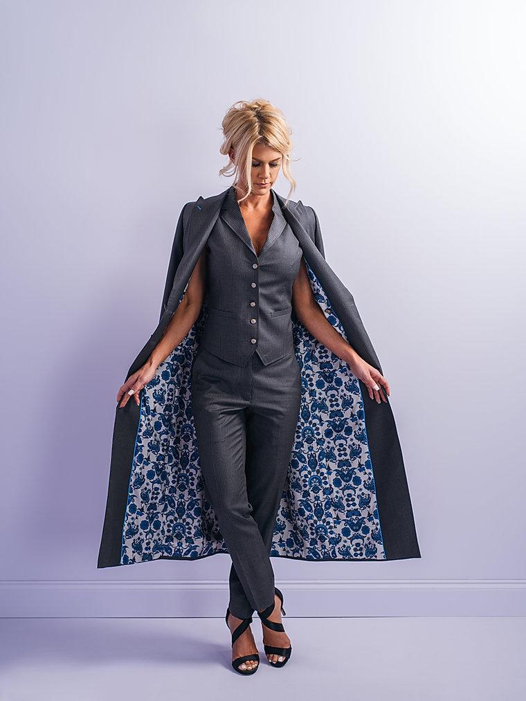 Sara Neel pinstripe custom womens suit p