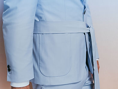 dusk light blue suit with belt bucket po