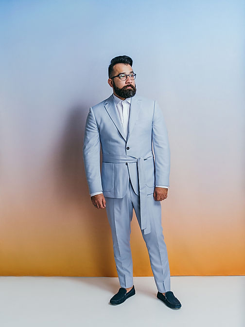 dusk powder blue suit with belt bucket p