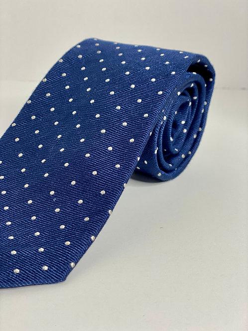 Navy Twill Polka Dot Tie