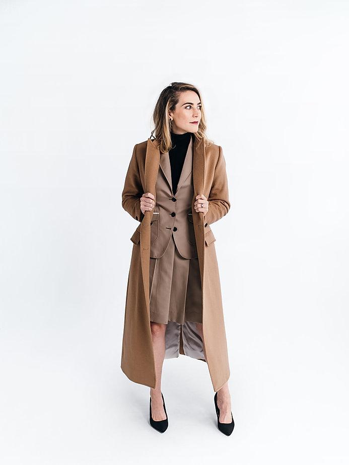 Eleanora Morrison custom camel overcoat