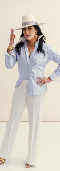 Oxford Stripe Shirt + X Creative White Pants $1,198