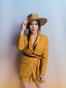 golden hour goldenrod suit with belt wra