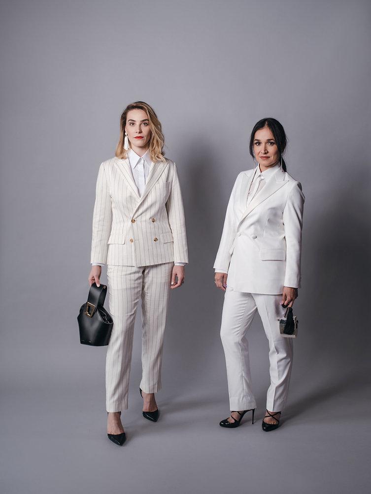 Womens white tuxedo pinstripe suit .jpg