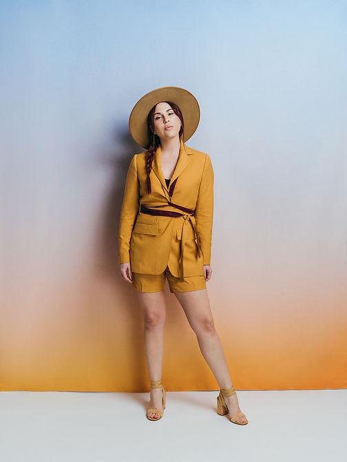 golden hour custom womens mustard suit w