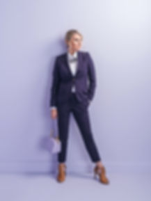 Katie Harvey purple custom suit san anto