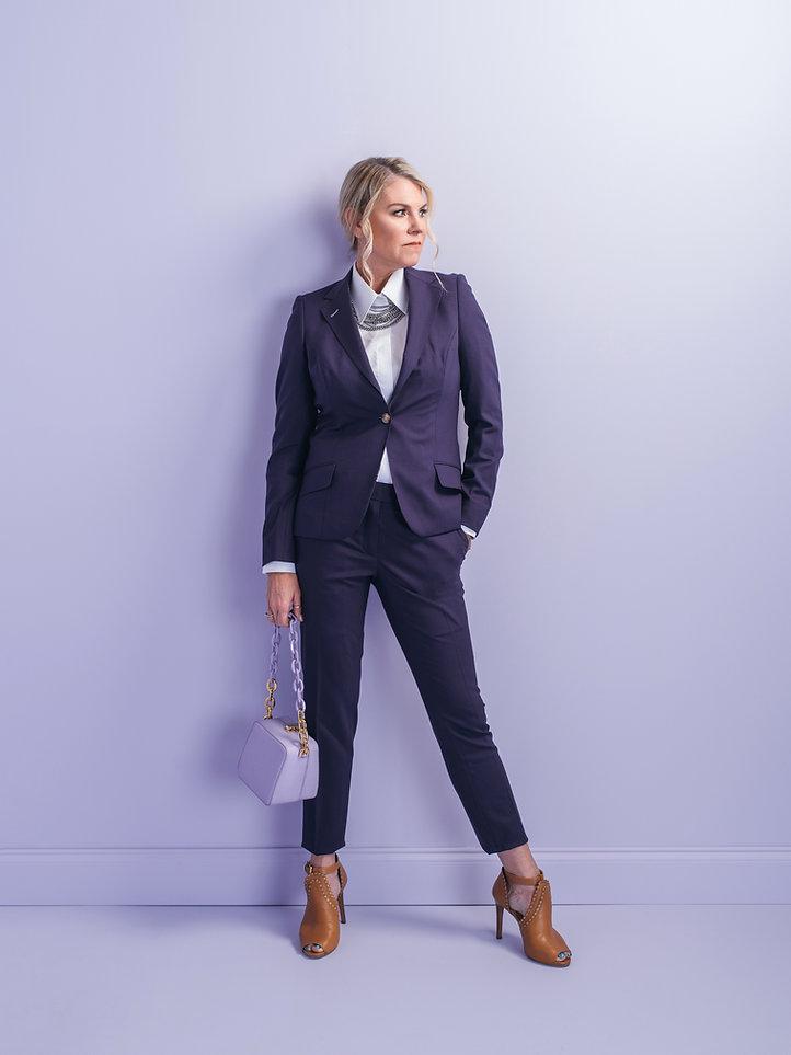 Katie Harvey purple custom suit san anto