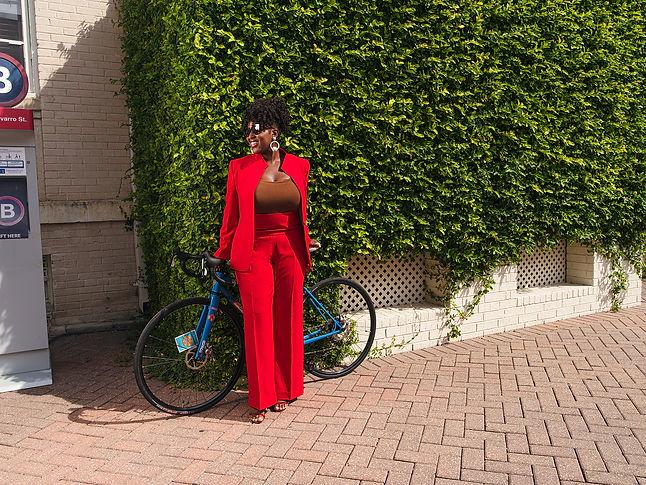 Womens Custom Red Suit Wide Leg Pants Hi