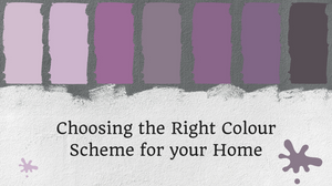Blog header image with purple paint swatches reading choosing the right colour scheme for your home