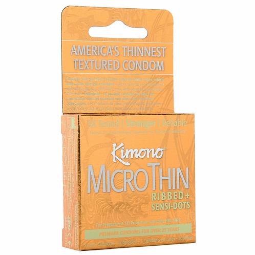 Kimono MicroThin Ribbed + Sensi Dots Condoms in 3 Pack