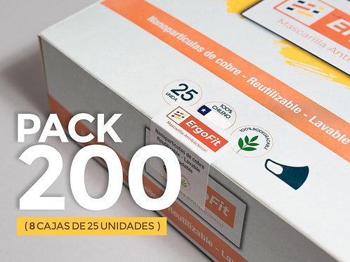 Pack de 200 mascarillas ErgoFit Antibacterial