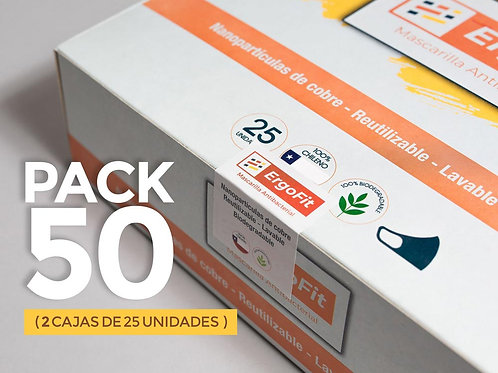 Pack de 50 mascarillas ErgoFit Antibacterial