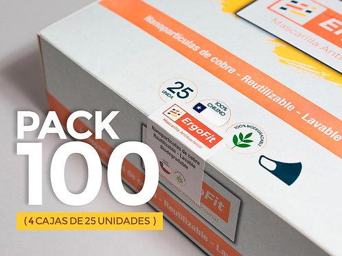 Pack de 100 mascarillas ErgoFit Antibacterial