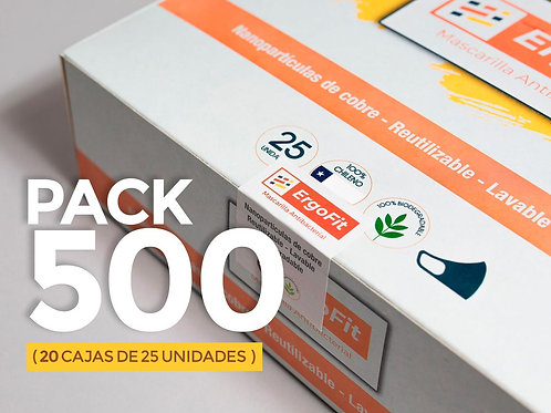 Pack de 500 mascarillas ErgoFit Antibacterial