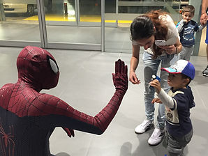 Spiderman high fives Cyprus chldrens party entertainment