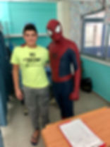 Spiderma Christmas visitat the Paphos general hospital - Cyprus chldrens party entertainment