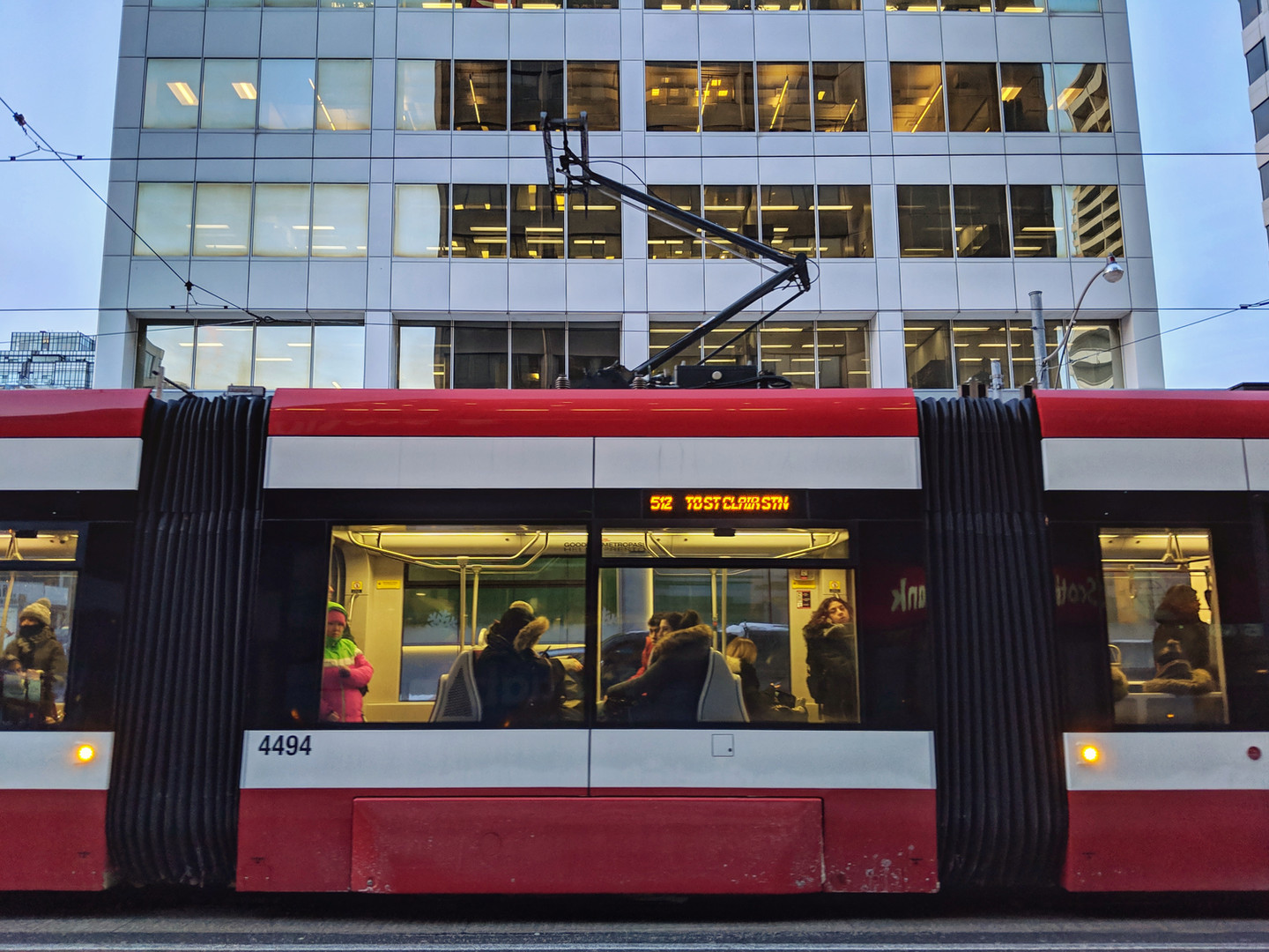 Office buildings on north side of St. Clair Avenue with streetcar