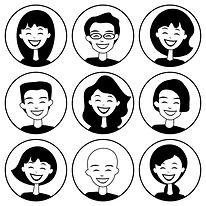 Cartoon people inside circles
