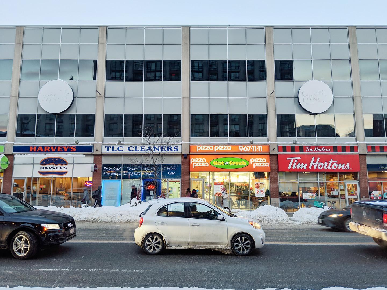 Storefronts on east side of Yonge Street, north of Delisle Ave