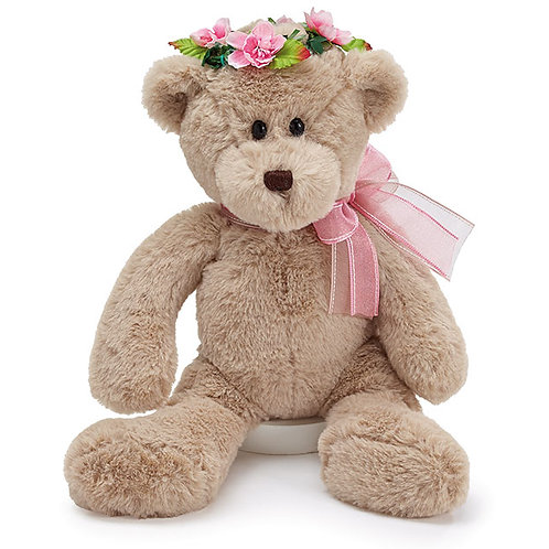 Beige Bear with Pink Flower Crown