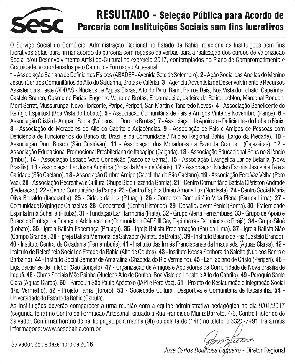 Projeto FAMA parceria Sesc